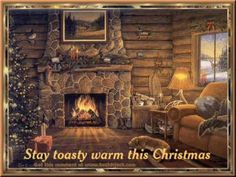 The Christmas Song-Nat King Cole with a cozy log cabin & fireplace to keep you warm