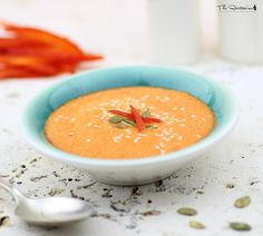 This raw red pepper soup uses cashews as the cream base. It tastes surprisingly like traditional red pepper soup - but without the dairy. A blender is required.