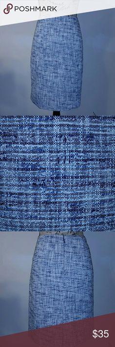 "{Antonio Melani} Navy Tweed Skirt Beautiful skirt by Antonio Melani. Tweed style. Blue lining. Colors: Navy, White, Silver. In excellent condition. 82% Cotton, 12% Acrylic, 5% Polyester, 1% Spandex. Measurement: Waist 16.5"", Length 21.5"" ANTONIO MELANI Skirts Midi"