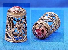 Russian Hand Painted Filigree Thimble