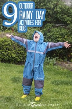 Wondering what to do with the kids on a rainy day in the summer time? It's still warm outside and the kids are so bored! Head outside and have fun exploring and playing with these great ideas! #ad #summer #kidsactivites #rainyday