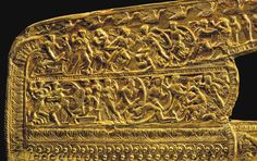 The Royal Tombs of Aigai: Finds from the tomb of Philip II of Macedon and the Scythian princess Meda, in Aigai, Macedonia, Greece. The gold sheet that decorated the gorytos (a Thraco-Scythian quiver that held both the bow and the arrows). It was either a gift or booty. It might be related to the Philip's marriage with Meda. It bears a depiction of the fall of a city- Troy perhaps.