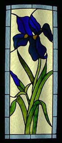 This photo is of a stained glass window depicting an Iris flower created for a client's front door