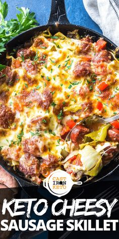 Keto Cheesy Cabbage Sausage Skillet – the perfect low-carb skillet dinner recipe! Keto Cheesy Cabbage Sausage Skillet – the perfect low-carb skillet dinner recipe! Cabbage Recipes, Meat Recipes, Seafood Recipes, Low Carb Recipes, Chicken Recipes, Healthy Recipes, Salmon Recipes, Pasta Recipes, Fish Recipes