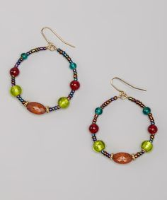 Take a look at this Green & Red Glass Beaded Hoop Drop Earrings by Majestic on #zulily today!