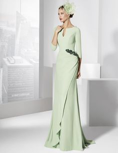 Magbridal Graceful Acetate Satin Scoop Neckline Three-quarters Sleeves Sheath Evening Dresses With Beaded Lace Appliques Evening Dresses, Prom Dresses, Formal Dresses, Wedding Dresses, Elegant Dresses, Beautiful Dresses, Godmother Dress, Mother Of The Bride Dresses Long, Groom Dress