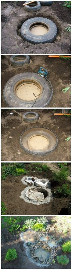 Recycled Tires Pond outdoors diy pond craft crafts do it yourself diy projects how to garden ideas tutorials backyards (Diy Garden Pond) Tire Pond, Tire Garden, Garden Art, Tyres Recycle, Diy Recycle, Recycling, Recycled Tires, Pond Design, Garden Design