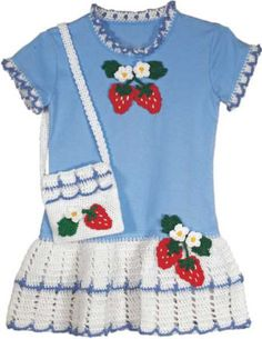 Strawberry T-Shirt Dress and Purse Crochet Pattern
