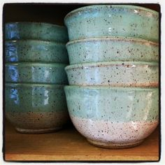 Speckled, rustic stoneware bowls. How cozy!!