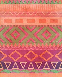 Aztec Boho Art  Giclee Print 16x20  Museum Quality  by bohoLUSH, $49.00