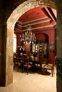 This New Braunfels, Texas Tuscan design dining room is so warm and inviting with its reddish-brown Marsala hue, which will stimulate conversation! Decor, Red Dining Room, Remodel, House Colors, Red Rooms, Home Decor, Tuscan Paint Colors, Dining Design, Tuscan Decorating