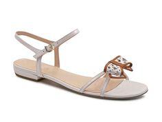 Giorgio Armani white Patent Leather flat sandals