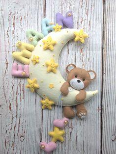 Baby Decor room Baby room decor Personalized felt moon teddy bear Handmade felt hanging door decoration Nursery wall hanging Bear on the Baby Crafts, Felt Crafts, Diy And Crafts, Decor Crafts, Baby Room Decor, Nursery Decor, Room Baby, Nursery Ideas, Bedroom Ideas