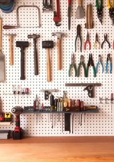 How to Make the Ultimate Garage Workbench We walk you through the step-by-step of building a custom, built-to-last, versatile garage workbench. Free printable workbench plans are included! Garage Tool Organization, Garage Tool Storage, Workshop Storage, Garage Tools, Garage Workshop, Organization Ideas, Workshop Ideas, Garage Shop, Garage Art
