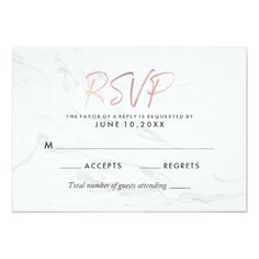 Modern White Marble Rose Gold Script Wedding RSVP Card