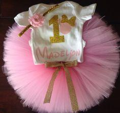 Oro y rosa Minnie Mouse cumpleaños atuendo por ASweetBabyBoutique