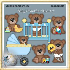 Baby Boy Clipart Teddy Bears with crib and by MagicmakerScraps