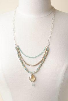 "Summer Rain 25.5"" Crystal Herringbone Pendant Multistrand Necklace Necklace Designs, Beaded Jewelry Designs, Beaded Necklace, Necklace Ideas, Handmade Jewelry, Summer Rain, Beautiful Necklaces, Fall Jewelry, Jewelry Crafts"