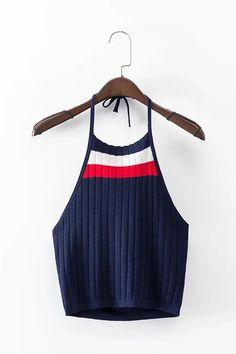 Stripe Pattern Halter Neck Knit Crop Top -YOINS