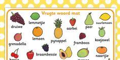 Afrikaans Vrugte Woordmat - vrugte, woordeskat, woordmat Kids Work, Working With Children, Afrikaans, Pre School, Education, Words, Afrikaans Language, Teaching, Educational Illustrations
