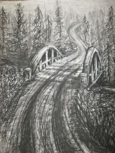 "Charcoal Drawing Ideas ""Forest Bridge"" Original Charcoal Drawing on by ""Orange Flower"" Original Textured Acrylic Painting by Michelle Durell / Durell Studio - Easy Drawings, Sketchbook Art Journal, Art Charcoals, Charcoal, Landscape Pencil Drawings, Tree Drawing, Charcoal Drawing, Easy Realistic Drawings, Interesting Art"
