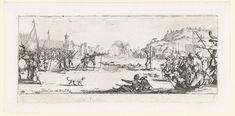 Jacques Callot   Strafmaatregelen: het vuurpeloton, Jacques Callot, 1633   Op een open plek in een legerkamp vlakbij een burcht kijken vele soldaten toe hoe een man, aan een paal gebonden, wordt doodgeschoten door een vuurpeloton. Op de grond naast de paal liggen reeds twee lijken. Onder de voorstelling een lege marge. Deze prent is onderdeel van een serie van 17 (18 incl. titelprent) prenten met voorstellingen van diverse soorten ellende die oorlogvoering met zich meebrengt.