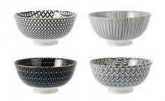 4er Set Schale China, tief, schwarz/gold - Mit diesen Schalen im 4er Set können Sie Ihren Gästen leckere Kleinigkeiten servieren. Die Schalen sind nicht geeignet für die Mikrowelle.Material: Porzellan
