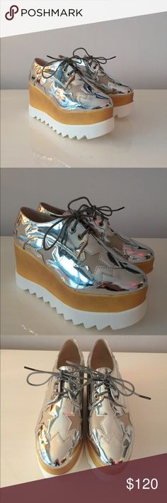 Silver Metallic Star platform shoes (NEW) Silver platform shoes Super lightweight and comfortable.  3.5 inch platform tagged Stella McCartney for views. Stella McCartney Shoes Platforms