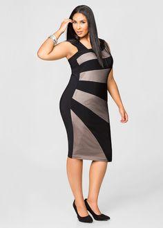 ee7639c216 Nude Mesh Sunburst Dress-Plus Size Jackets-Ashley Stewart