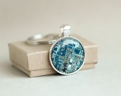 Men's Geeky keychain  Circuit board keyring  Blue by ReComputing, $18.00