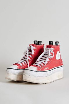 Funky Shoes, Cute Shoes, Me Too Shoes, R13 Denim, Red Converse, High Top Converse, Piercing, Aesthetic Shoes, Dream Shoes
