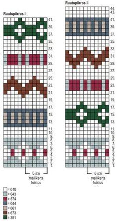 Novita Fair Isle Knitting Patterns, Fair Isle Pattern, Bead Loom Patterns, Sweater Knitting Patterns, Knitting Charts, Knitting Socks, Knitting Designs, Knitting Stitches, Knit Patterns
