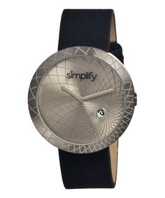 This Pewter & Black The 1800 Leather-Strap Watch by Simplify is perfect! #zulilyfinds