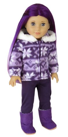 Silly Monkey - Plum Chilly Coat and Leggings, $15.00 (http://www.silly-monkey.com/products/american-girl-doll-snowflake-jacket-and-leggings.html)