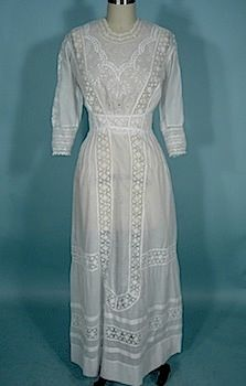 "c. 1910-1912 White Embroidered, Lace and Cutwork Lawn Dress!   These white cotton or linen dresses of the Edwardian era were called lawn dresses, or lingerie dresses, or ""whites""..."