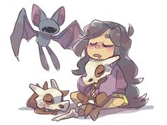 Nightstar, Zubat, and Cubone - Pokemon and Teen Titans crossover