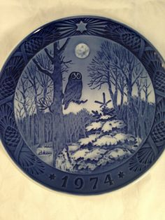 "Danish Collectible Royal Copenhagen Christmas Plate 1974 Owl, moonlite night in a snowy forest, ""Winter Twilight"" Vinterskumring, Kai Lange on Etsy, $10.00"