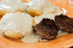 Scratch made biscuits and gravy easy! http://accordingtobrian.com/biscuitsngravy