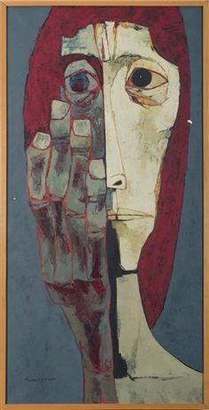 Cabeza y mano von Oswaldo Guayasamín