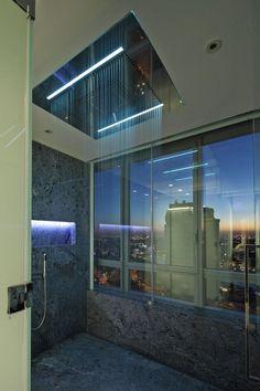 modernes bad regendusche beleuchtung stadt aussichten