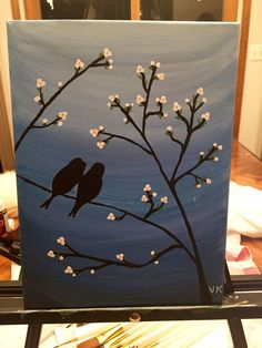 "$15 - Love Birds Sitting on a Branch tree cheery blossom blue - 14x10.5"" handmade acrylic painting on canvas"