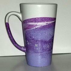 Tall Purple Coffee Mug/Purple Latte Mug/Hand Painted Ceramic Mug Latte Mugs, Coffee Latte, Tea Mugs, Purple Coffee Mugs, Tall Coffee Mugs, Hand Painted Mugs, Hand Painted Ceramics, Insulated Mugs, Ceramic Cups