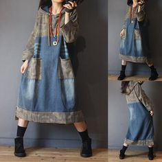Boho Fashion, Womens Fashion, Fashion Design, Fashion Trends, Long Skirt Fashion, Ropa Upcycling, Jeans Trend, Hooded Dress, Recycled Denim