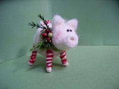 Candycane Piglet Felted Ornament  AFTER