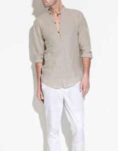 M Special zara genuine purchasing Men stand collar linen shirt domestic spot Indian Men Fashion, Kurta Designs, Mens Clothing Styles, Peter Pan, Shirt Style, Casual Shirts, Men Dress, Shirt Designs, Men Casual