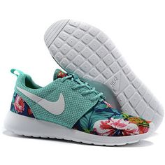 Custom Nike Roshe Run Flyknit Sneakers Athletic Womens Shoes With Fabric Floral Print and Swarovski