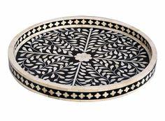 Round tray, bone inlay flower designer tray