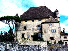 'Yvoire Castle, France' Greeting Card by Debbie Widmer Yvoire, Greeting Card, Portugal, Spain, Castle, France, Mansions, House Styles, Photography