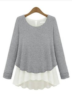 Grey Long Sleeve Ruffles Chiffon Sweater - Sheinside.com