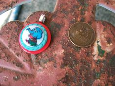 vintage button pendant necklace jewelry red by Suddendeersighting, $14.00